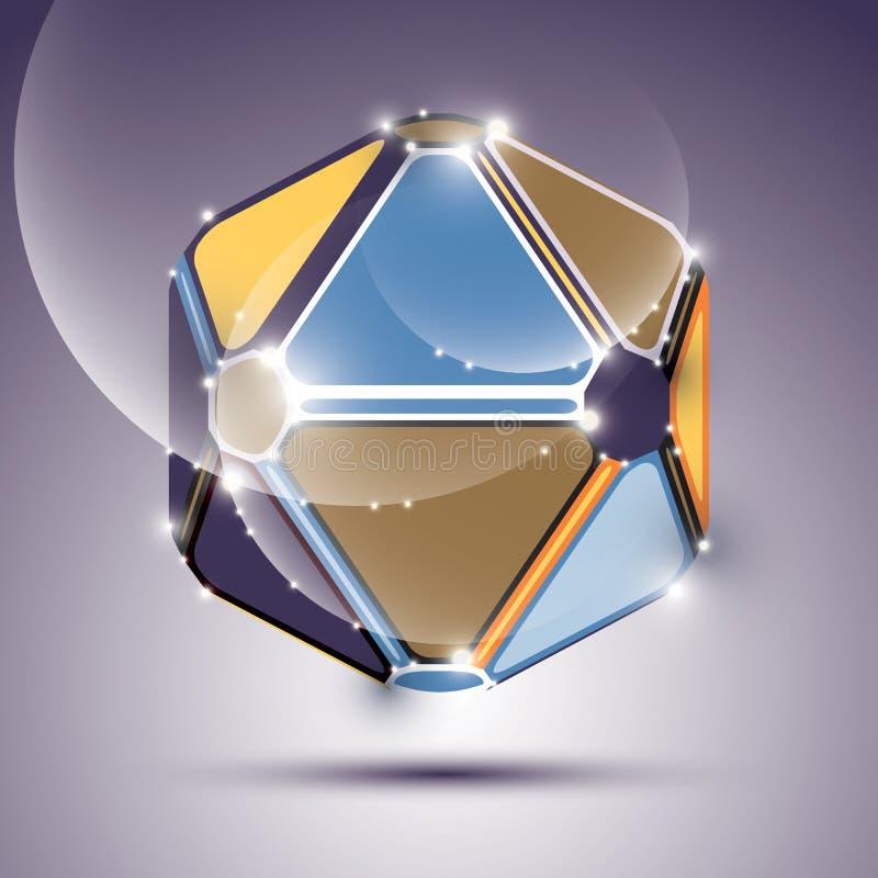 抽象3D与闪闪发光,明亮光滑的闪光欢乐球形 向量例证