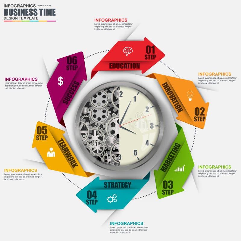抽象3D企业箭头周期图Infographic 向量例证