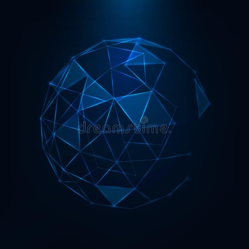 抽象3d低多球形 向量例证