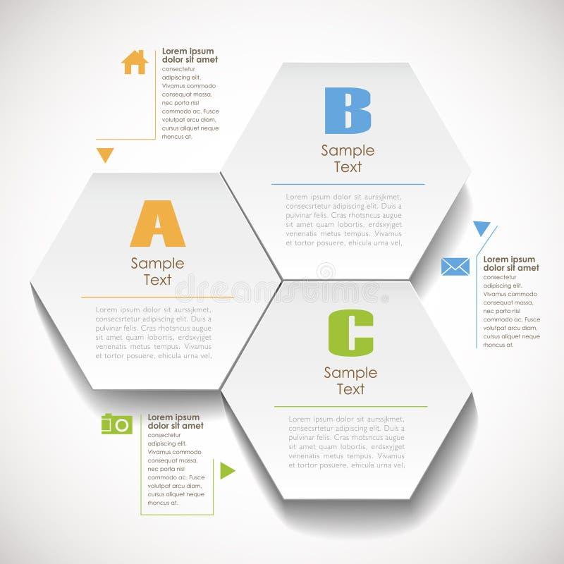 抽象3d六角纸infographic 库存例证