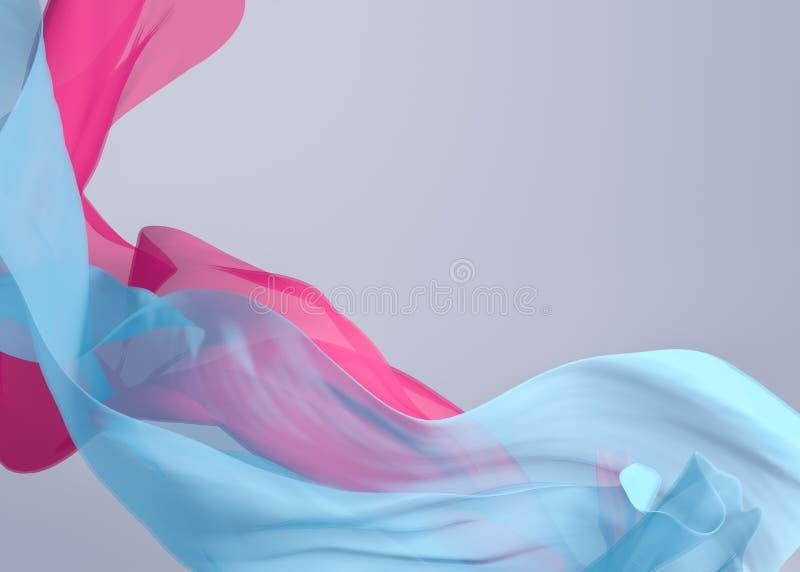 抽象3D回报例证 飞行的丝织物波浪,挥动 向量例证