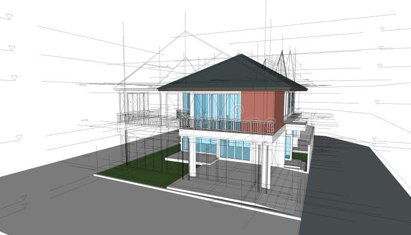 抽象3D回报建筑结构 建筑图表想法 库存例证