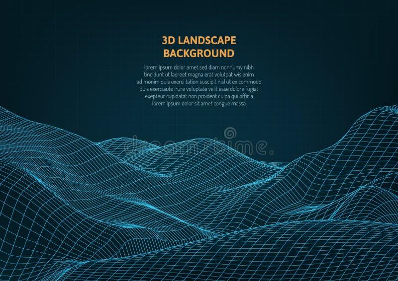 抽象3D图表 虚拟现实和错觉 向量例证