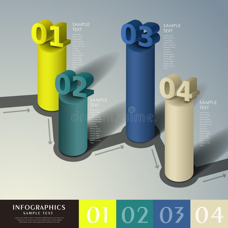 抽象3d圆筒infographics 皇族释放例证