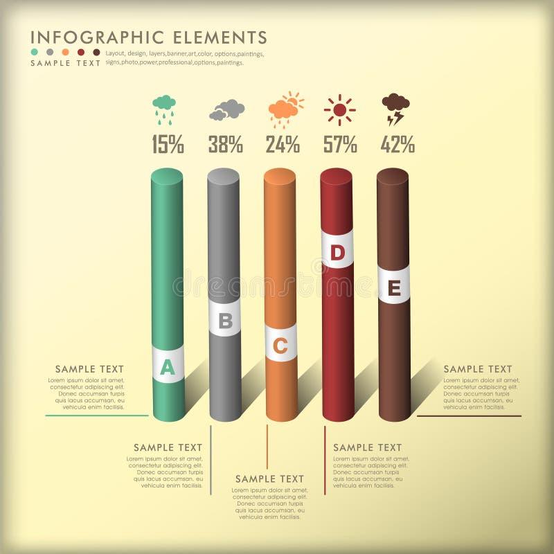 抽象3d圆筒infographics 库存例证