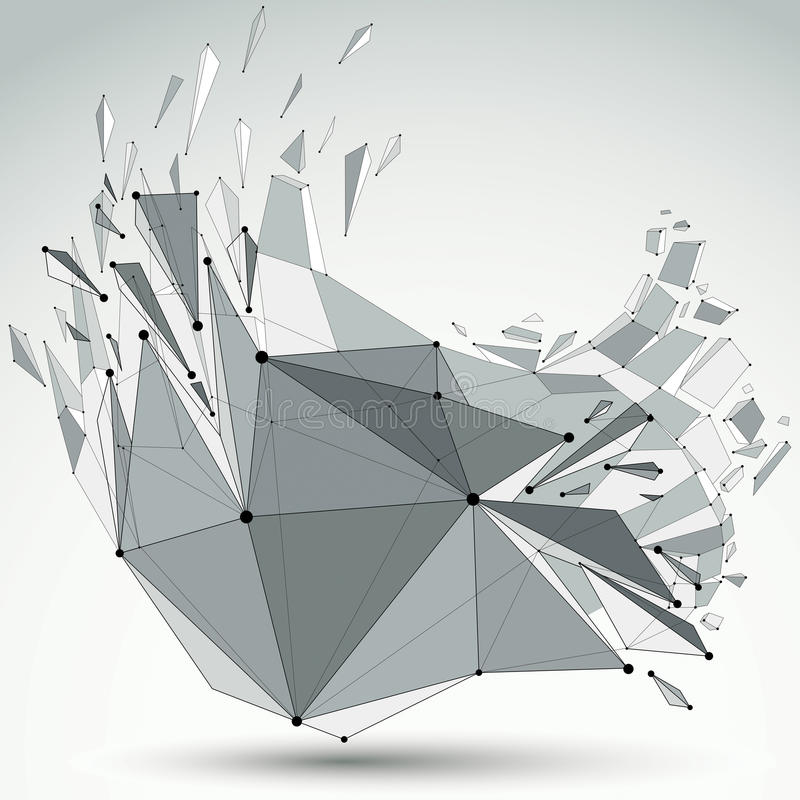 抽象3d在与被连接的黑线和小点的图上雕琢平面 向量例证