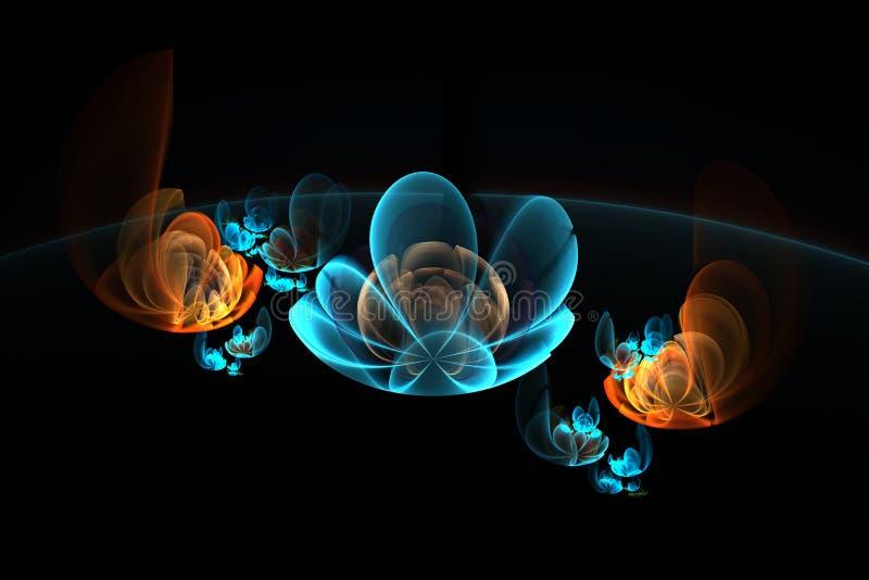 抽象3d在黑背景,在蓝色和橙色颜色的分数维图象开花 向量例证