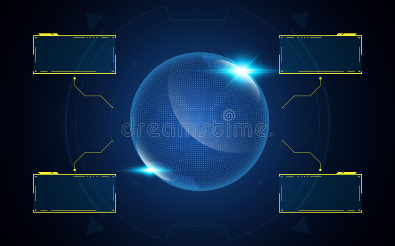 抽象3d地球技术交互式UI接口创新概念背景 向量例证