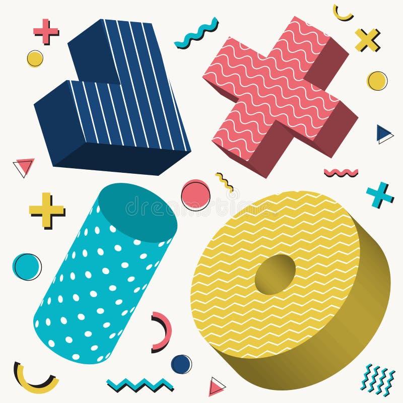 抽象3D对象设计孟菲斯与五颜六色的几何元素的样式样式在白色背景 库存例证