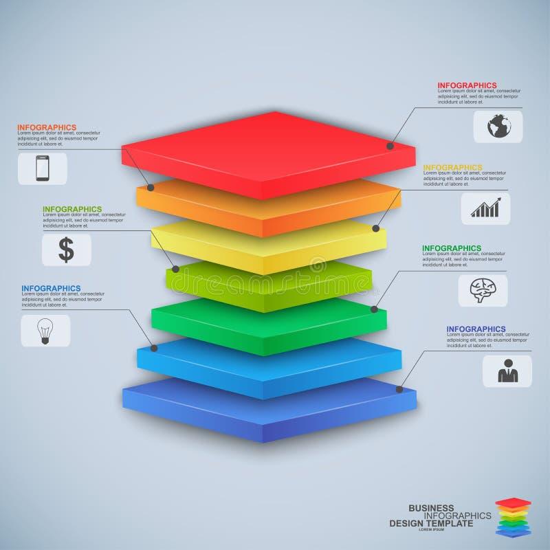 抽象3D数字式企业金字塔Infographic 皇族释放例证