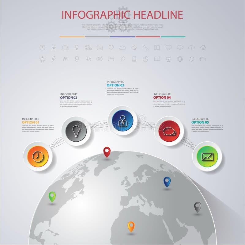 抽象3D数字式例证与世界地图的Infographic 能 库存例证