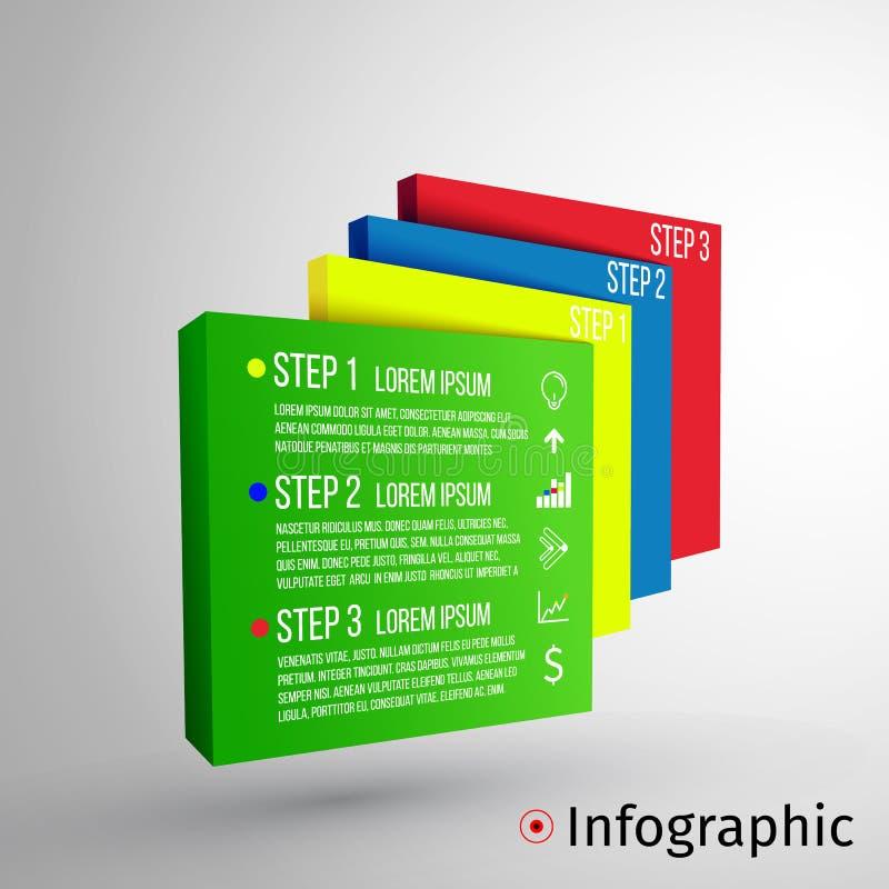 抽象3D数字式例证Infographic 传染媒介例证可以为工作流布局,图,数字使用 向量例证