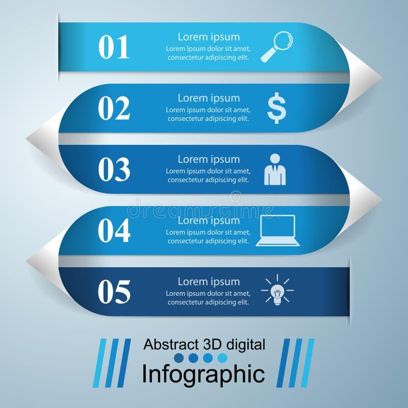 抽象3D数字式例证Infographic 皇族释放例证