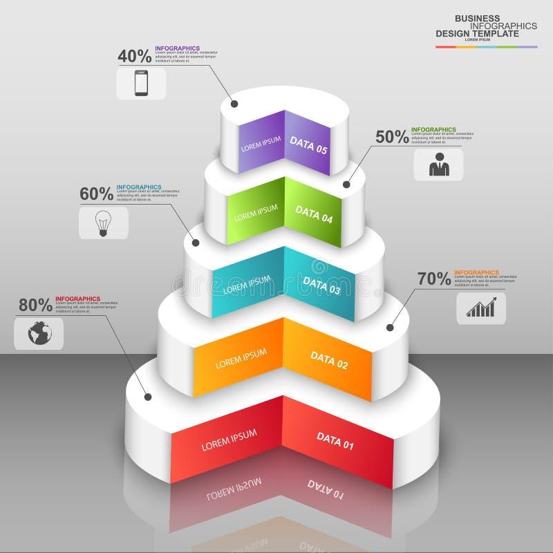抽象3D数字式工商界Infographic 库存例证
