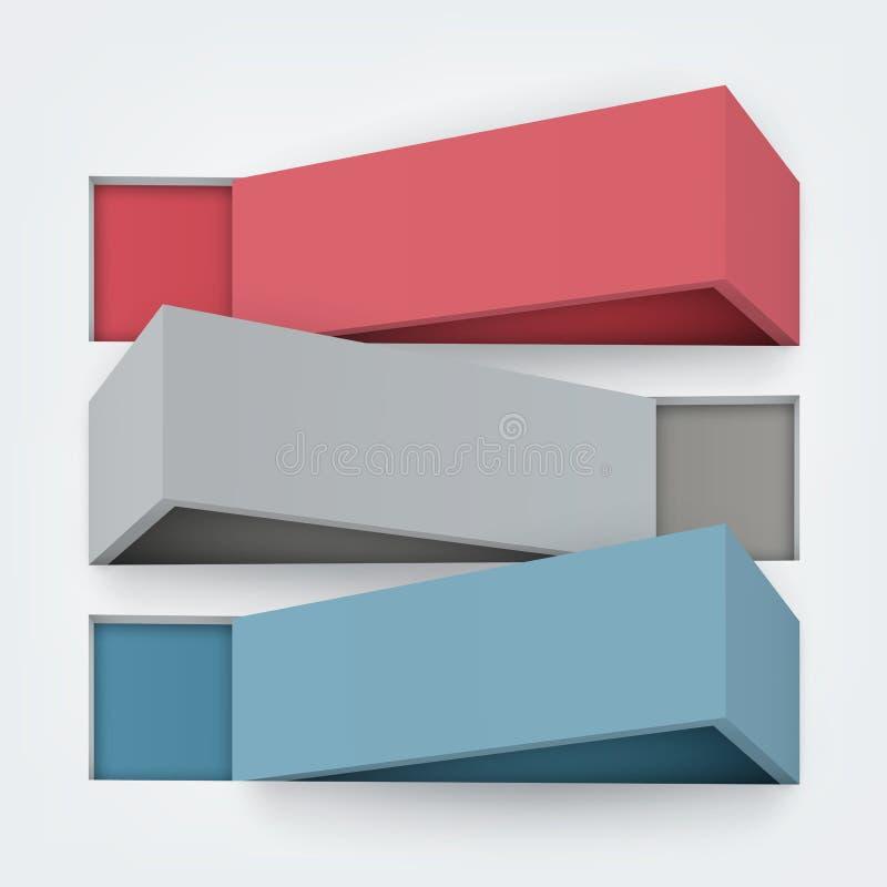 抽象3d板的传染媒介例证与 库存例证
