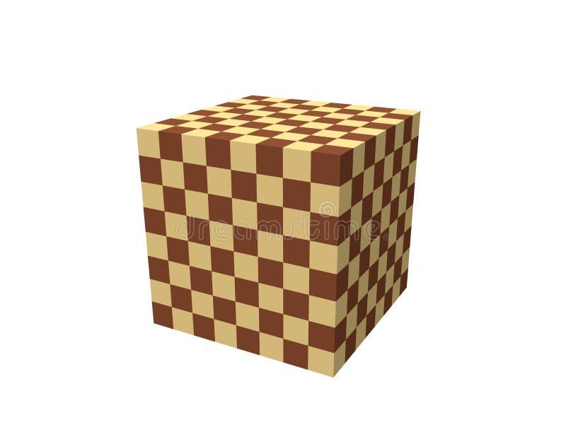 抽象3D棋盘 多维数据集 背景查出的白色 皇族释放例证