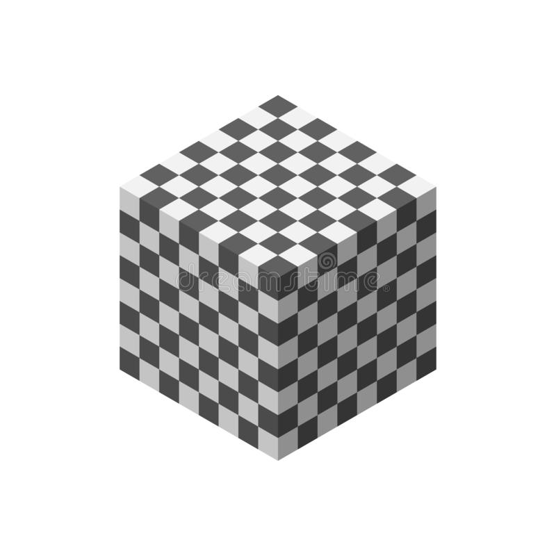 抽象3D棋盘 多维数据集 背景查出的白色 库存例证