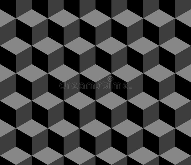 抽象3d求在黑白的几何无缝的样式,传染媒介的立方 向量例证