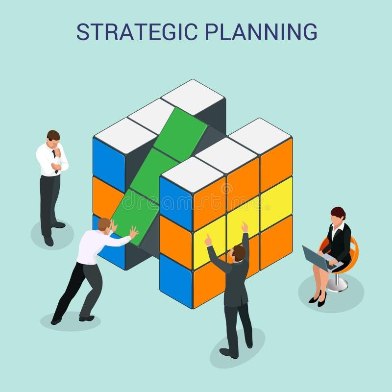 抽象3d求介绍战略计划或起动的墙壁infographic设计元素布局模板的立方 向量例证