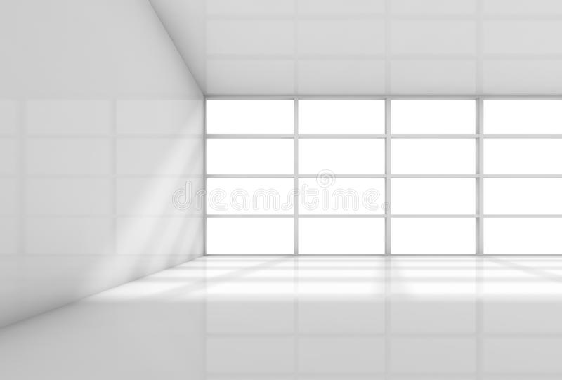 抽象3d白色内部,空的办公室室 库存例证