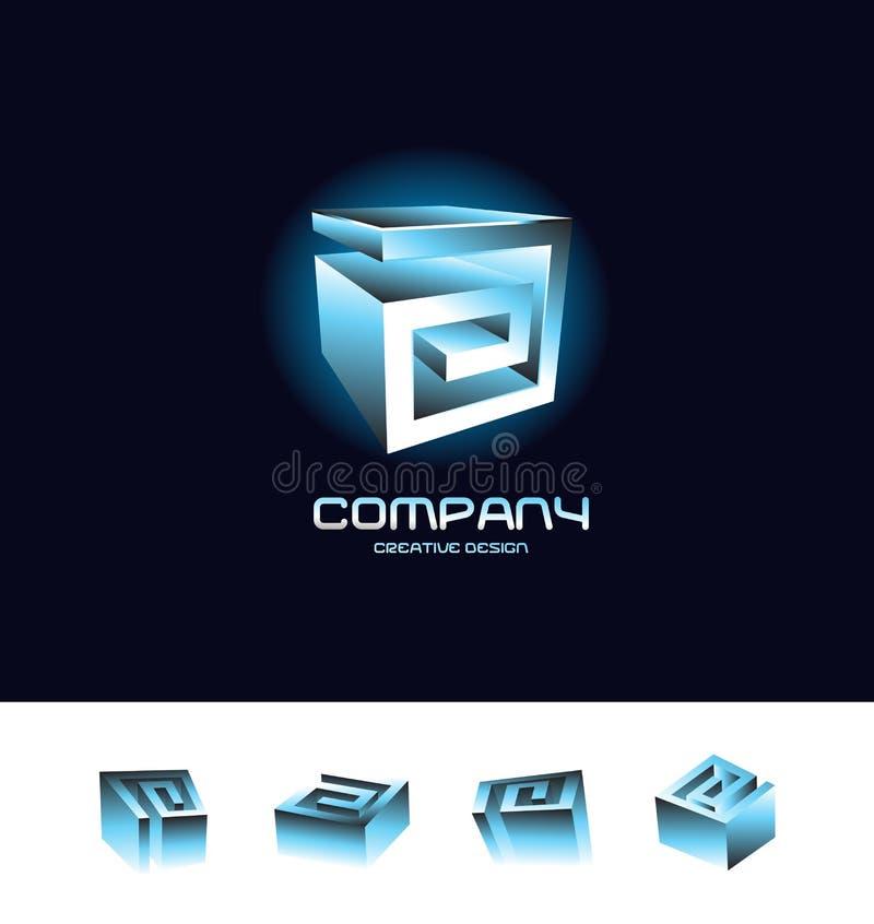 抽象3d立方体商标设计象集合蓝色 向量例证