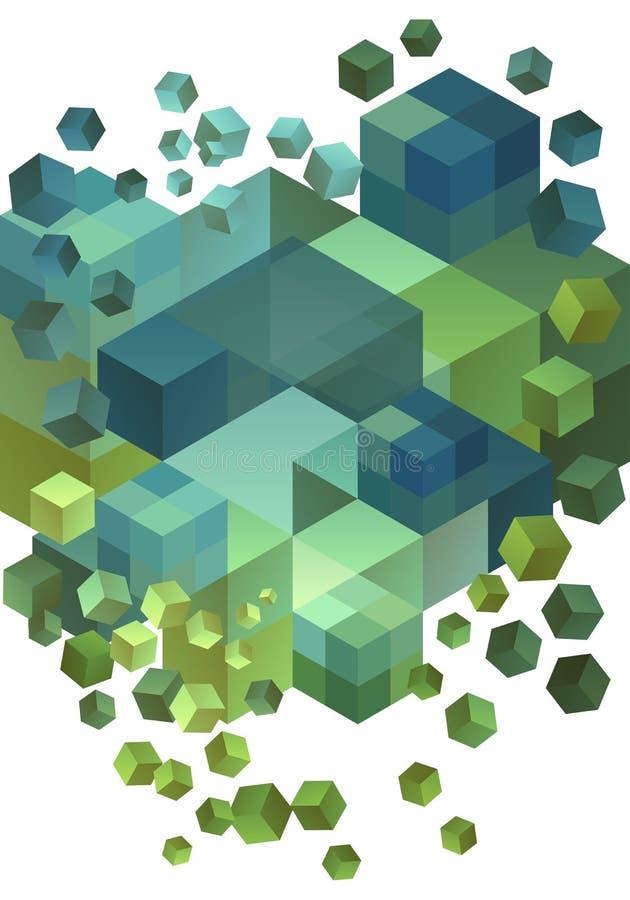 抽象3D立方体,传染媒介 向量例证