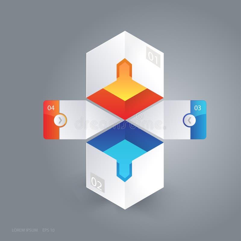 抽象3D立方体infographic传染媒介例证 皇族释放例证