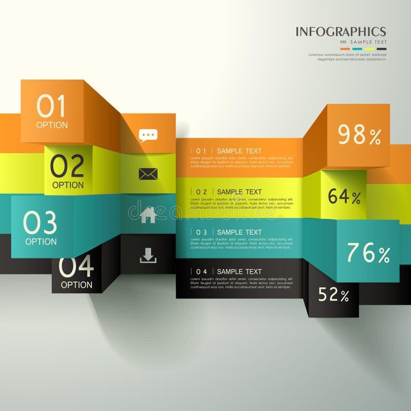 抽象3d立方体infographics 皇族释放例证