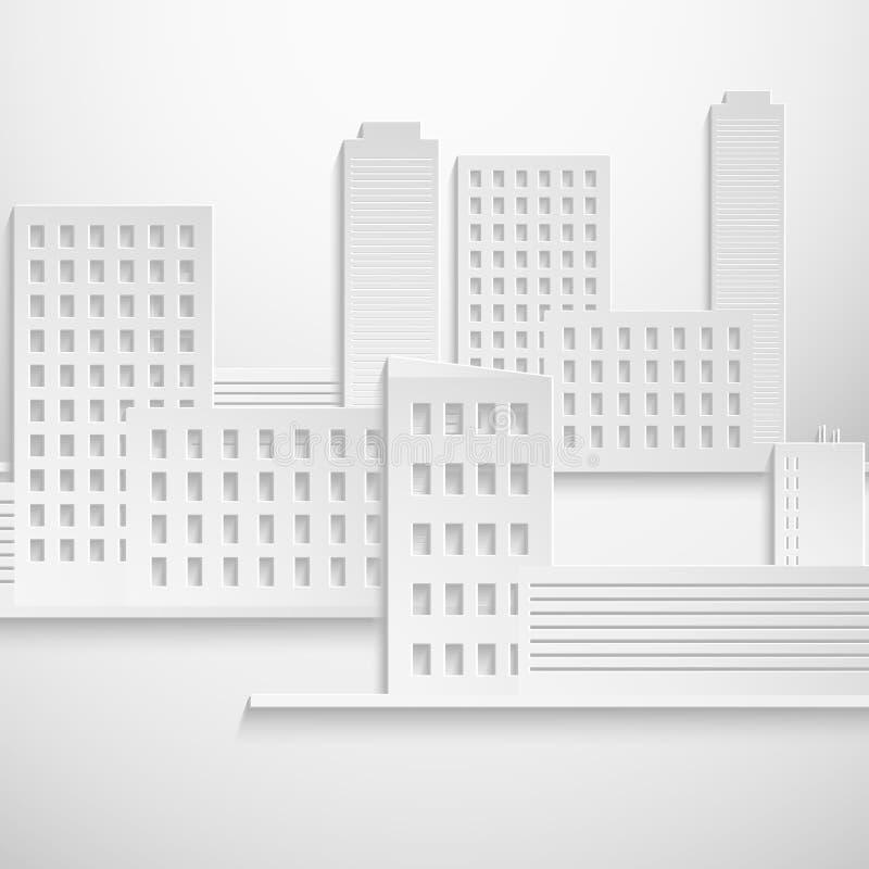抽象3D纸大厦 库存例证