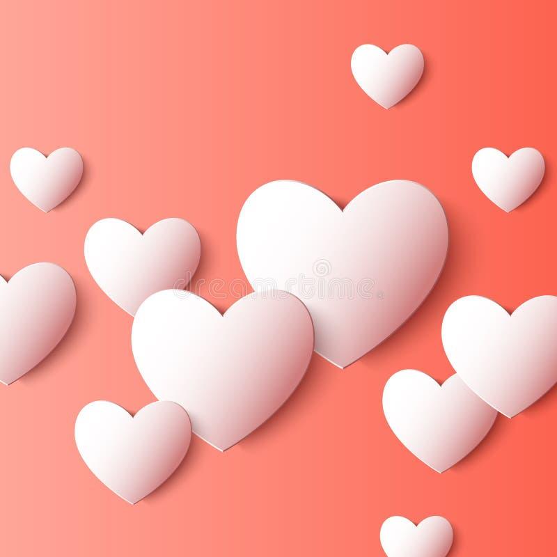 抽象3D纸心脏形状 向量背景 皇族释放例证