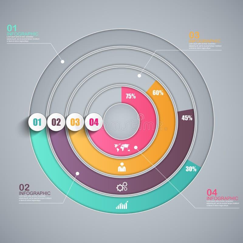 抽象3D纸Infographic 库存例证