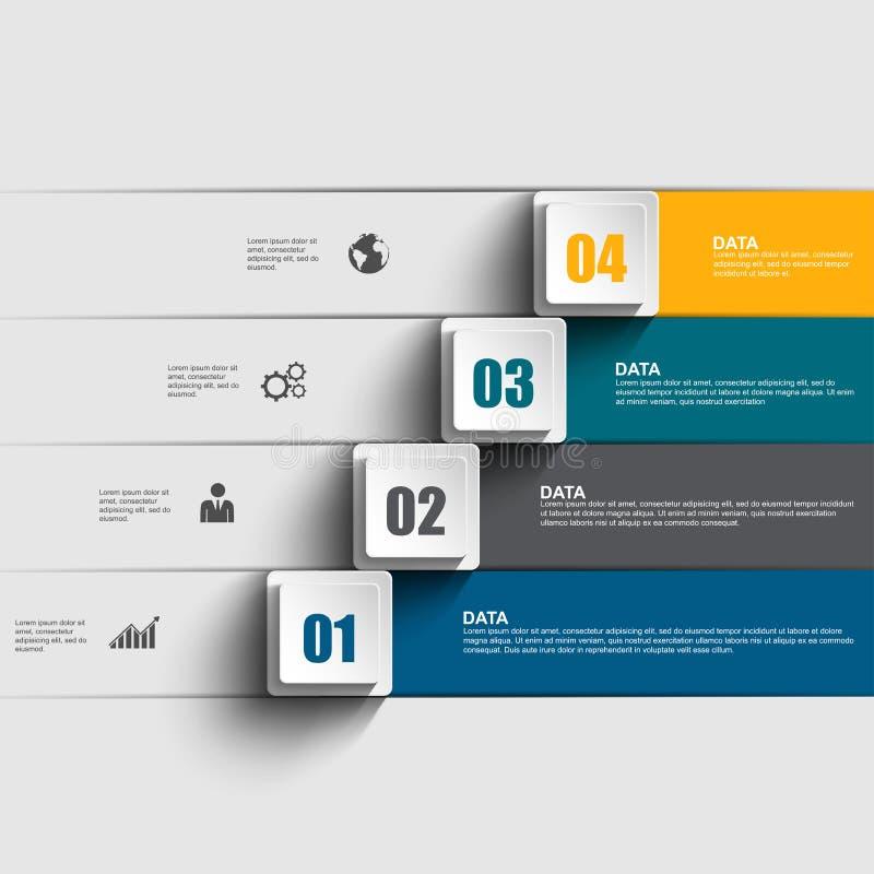 抽象3D纸Infographic 向量例证