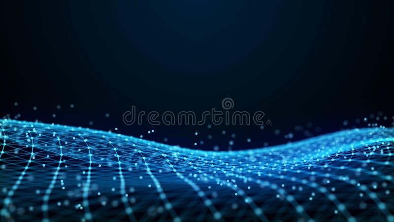抽象3d翻译小点和线 背景二进制代码地球电话行星技术 大数据形象化 人工智能 结节 库存例证