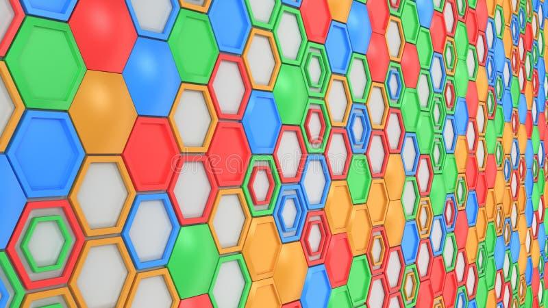 抽象3d背景由蓝色,红色,绿色和橙色六角形做成在白色背景 向量例证