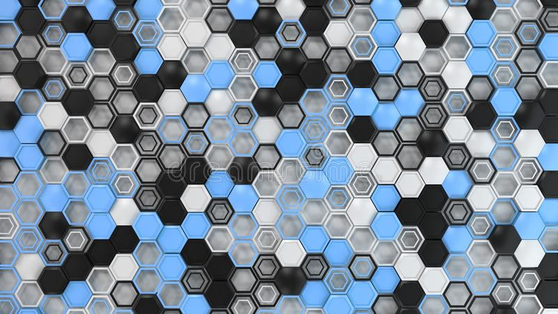 抽象3d背景由黑,白色和蓝色六角形做成在白色背景 皇族释放例证