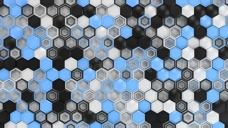 抽象3d背景由黑,白色和蓝色六角形做成在白色背景 向量例证