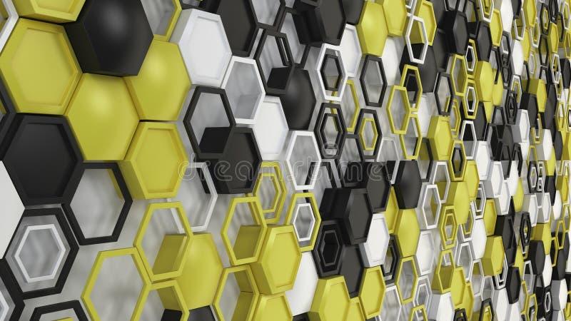 抽象3d背景由黑,白色和黄色六角形做成在白色背景 向量例证