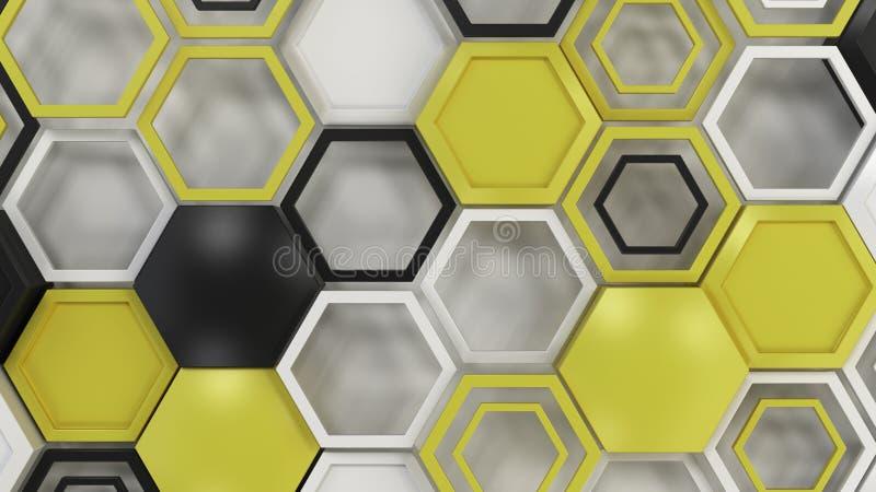 抽象3d背景由黑,白色和黄色六角形做成在白色背景 库存例证