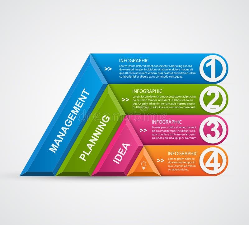 抽象3D金字塔选择infographics模板 向量例证