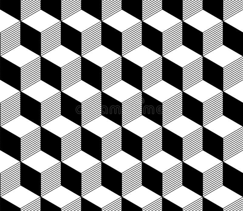抽象3d镶边了在黑白的立方体几何无缝的样式,传染媒介 库存例证