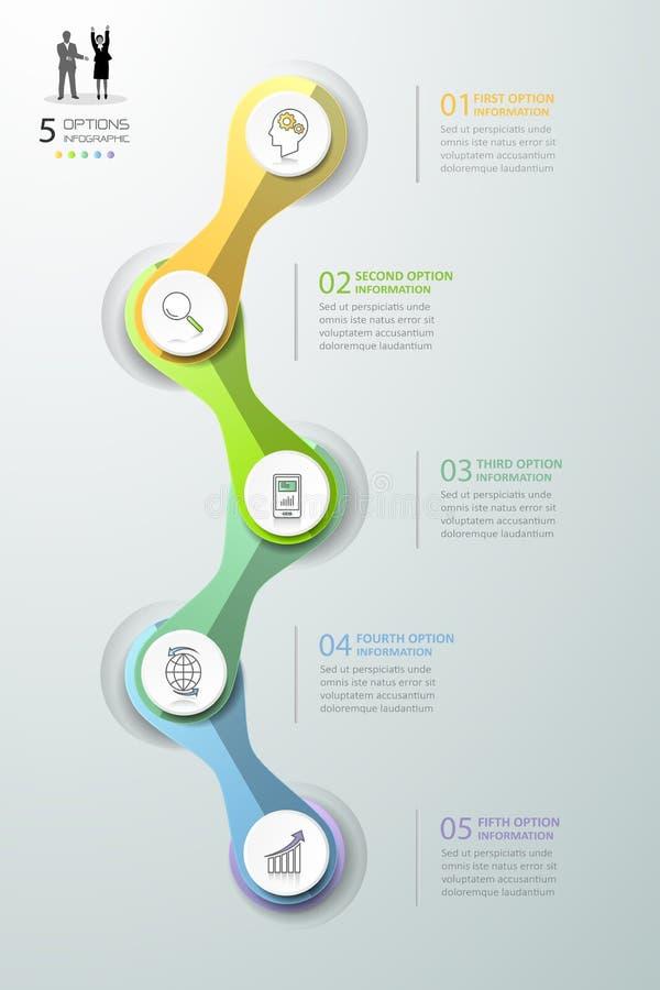 抽象3d infographic 5个选择, infographic企业的概念 皇族释放例证