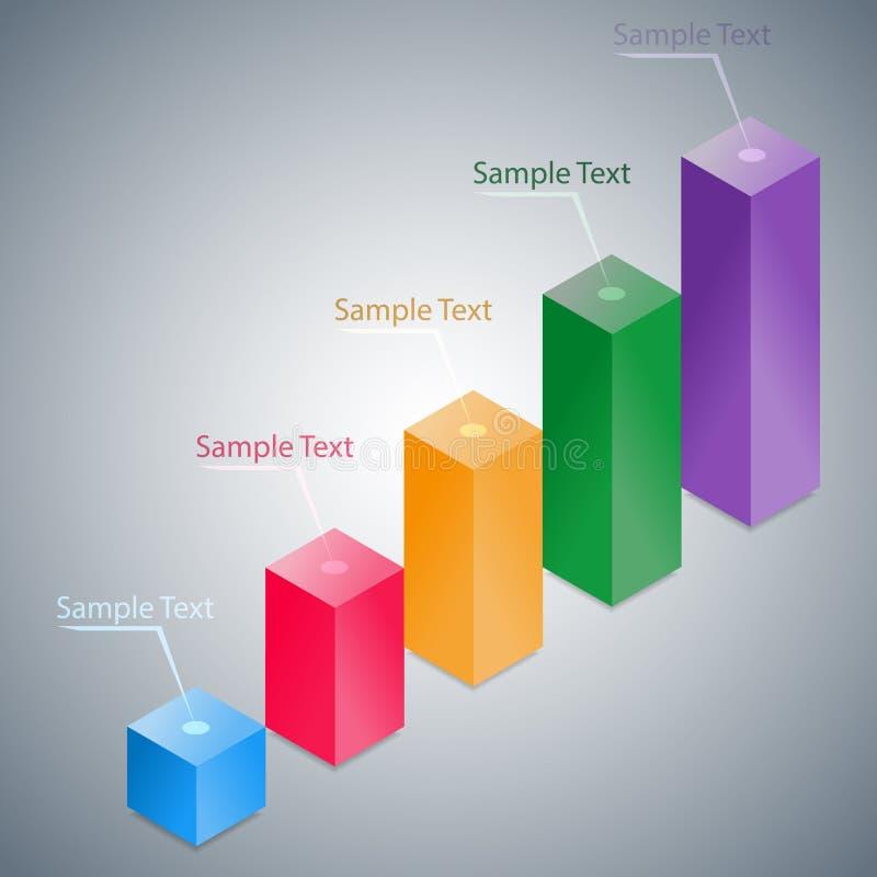 抽象3D Infographic直方图 库存例证