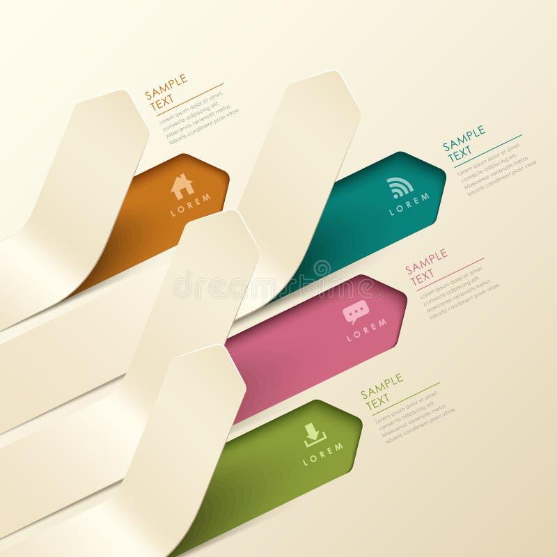 抽象3d origami横幅infographics 向量例证