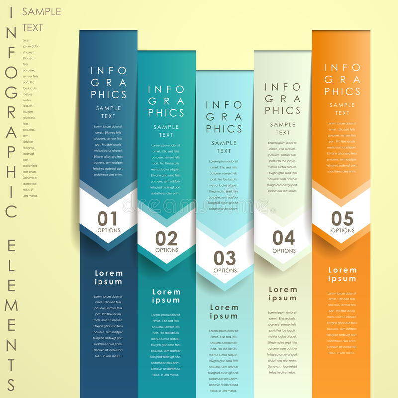 抽象3d origami横幅infographics 库存例证