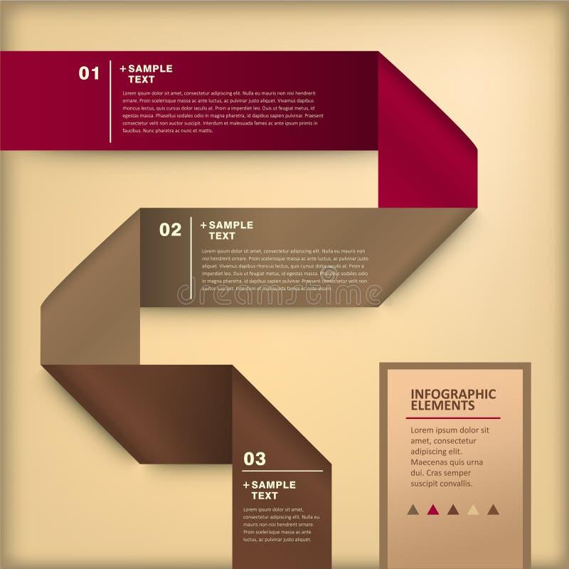 抽象3d origami纸infographics 库存例证
