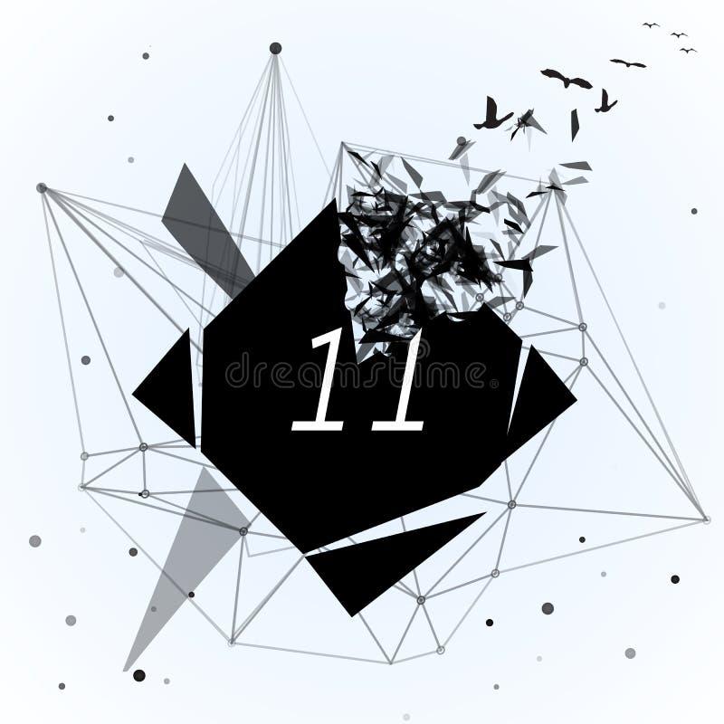 抽象黑rhomb,闯进小片断 抽象现代几何设计模板例证 库存例证