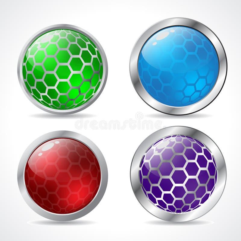 抽象3d按钮设计 皇族释放例证