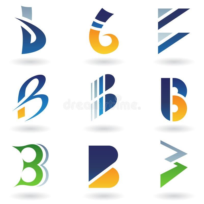 抽象b图标在类似于上写字 库存例证