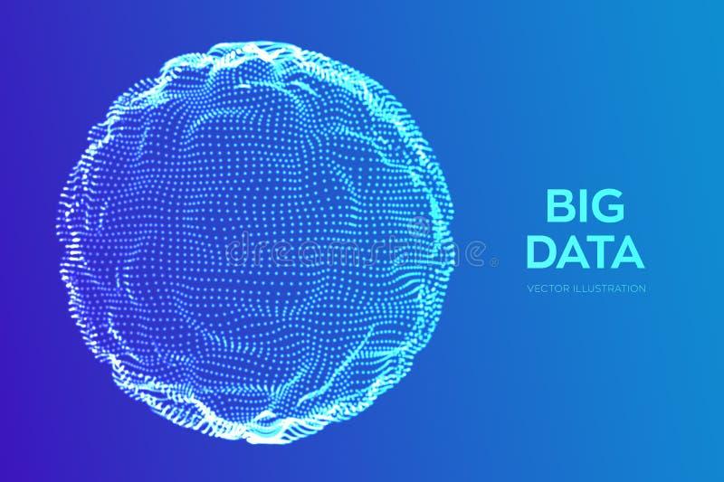 抽象bigdata科学背景 球形栅格波浪 大数据创新技术