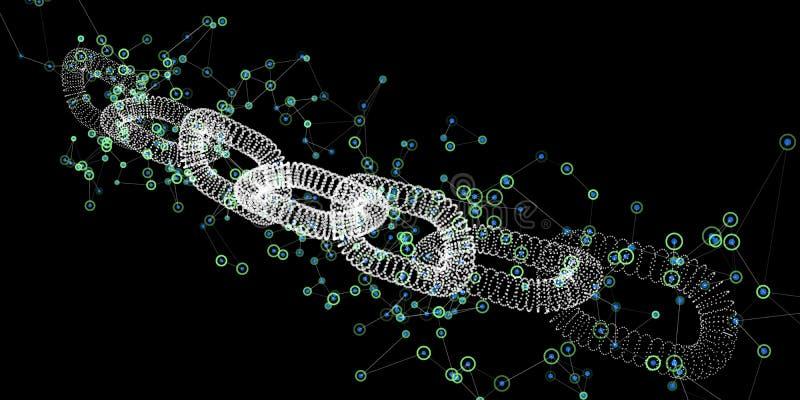 抽象blockchain概念 3D与数字网的wireframe链子 Cryptocurrency背景 也corel凹道例证向量 库存例证